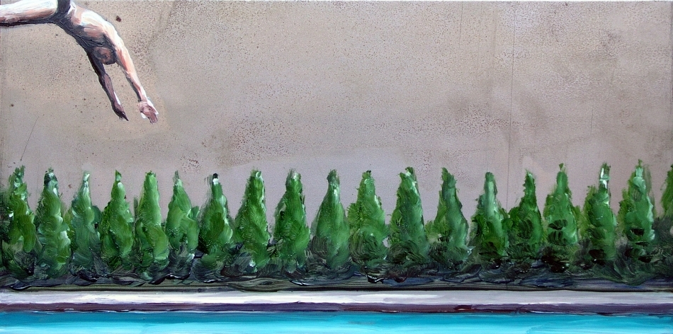 Neighbourhood #5, 2005<br /> Oil on steel<br /> 15 x 30 cm